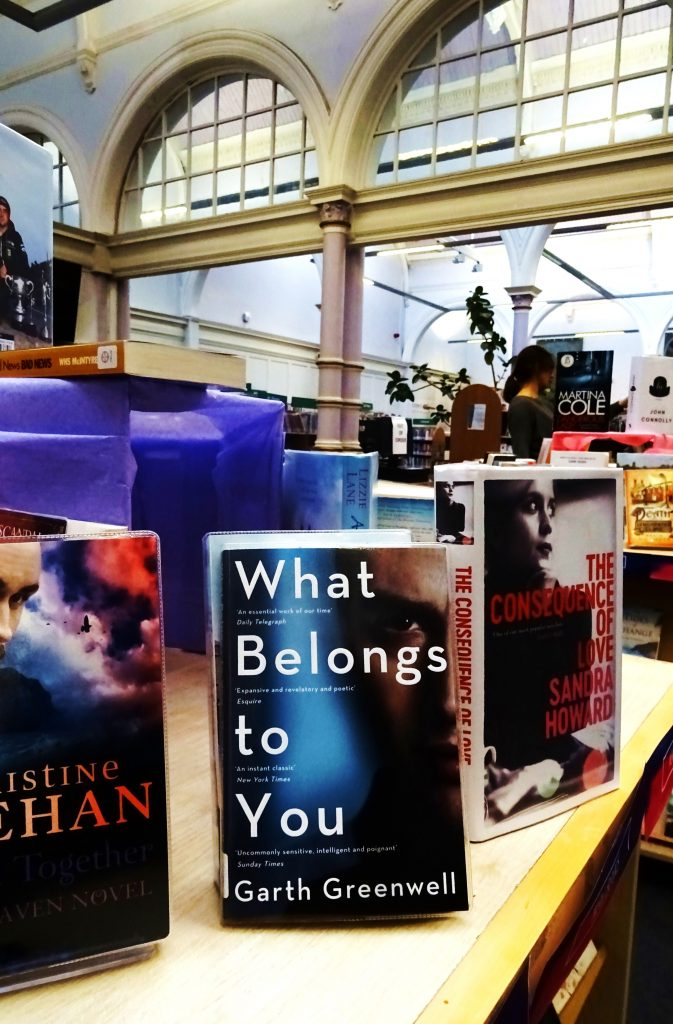 Interior of McDonald Road Library showing book display including What Belongs to You