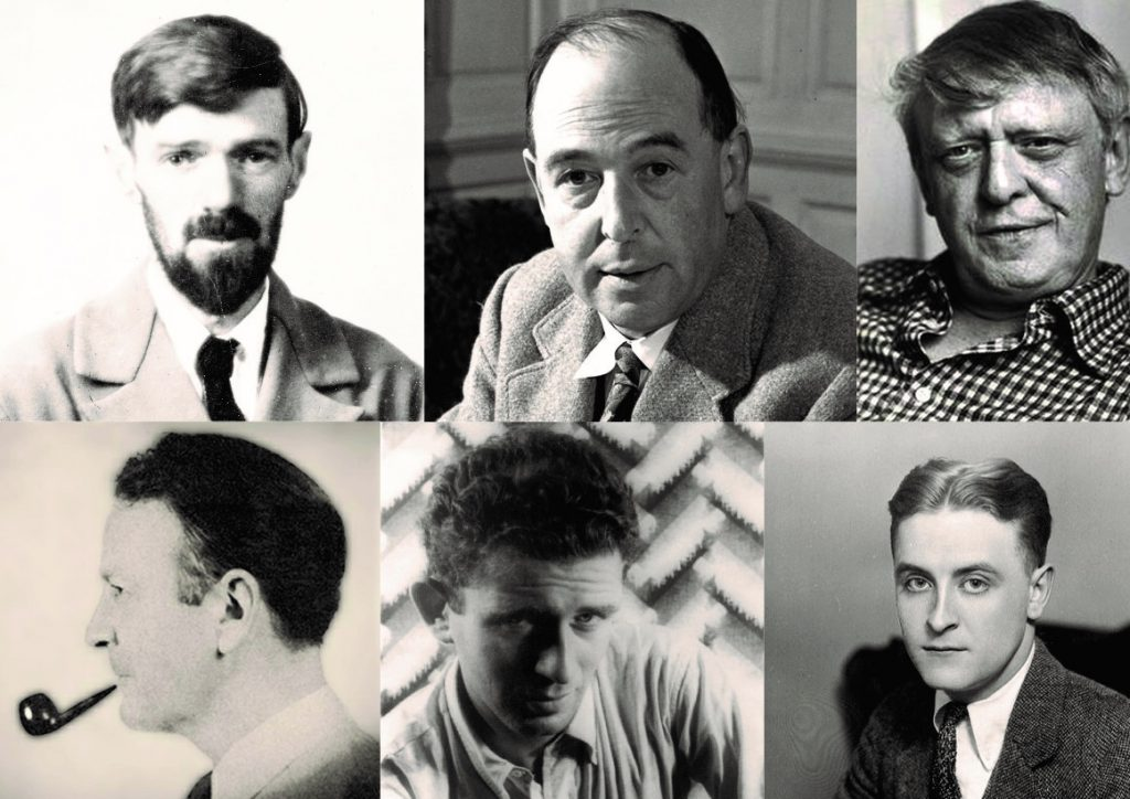 Photo: 6 Homophobic Writers - Head shots of DH Lawrence, CS Lewis, Anthony Burgess, Raymond Chandler, Norman Mailer, F Scott Fitzgerald